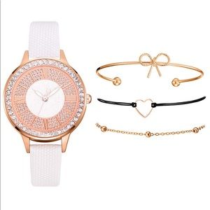 Jewelry - White Women's Quartz Watch Bracelet Set,
